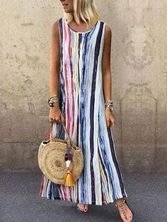 Plus Size Stripe Tunic Round Neckline Maxi Shift Dress - Dark Blue / Cheap Summer Dresses, Summer Dresses For Women, Dress Summer, Short Sleeve Dresses, Maxi Dresses, Casual Dresses, Floral Dresses, Stylish Dresses, Stylish Outfits