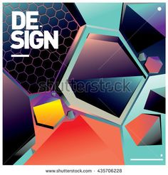 Vector Illustration Modern colorful background material design with hexagon shape