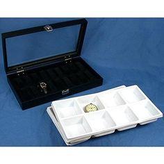 16 Pocket Watch Jewelry Tray Display Glass Top Case