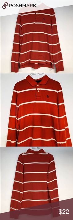 """Abercrombie and Fitch Striped Rugby Polo RedWhite Thanks for stopping by at OneManlyShop!!  Item: Abercrombie and Fitch Men's Striped Rugby Polo Red/White Size Medium M  Condition: In excellent used condition.  Please refer to images for more details about this item. If you have any questions please feel free to ask. All measurements are taken with the item laying and are approximate.   Armpit to Armpit: 22""""  Shoulder to Hem: 28"""" Abercrombie & Fitch Shirts Tees - Long Sleeve"""