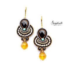 OOAK soutache earrings with sparkling beads. by Sengabeads on Etsy