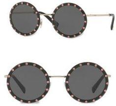 Valentino 52MM Crystal-Trim Round Sunglasses Accessoires, Maillots De Bain,  Maillots De Bain d027c4e7e098