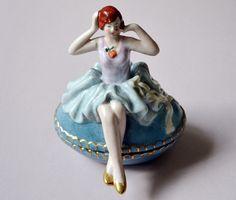 Vintage Porcelain Powder Jar Art Deco Doll Figure by LaMeowVintage