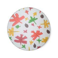 Autumn Leaves Pattern Classic Round Sticker - thanksgiving stickers holiday family happy thanksgiving