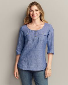 Linen/Cotton Tunic Shirt   Eddie Bauer