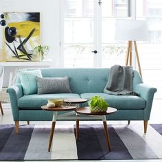 Seating - The Finn Sofa's tailored lines, tapered legs and button tufting are in. Seating - The Finn Sofa's tailored lines, tapered legs and button tufting are inspired by mid-century forms. Bold Living Room, Small Living Rooms, Living Room Designs, Sofa Design, Living Room Furniture, Living Room Decor, Furniture Nyc, Large Furniture, Turquoise Sofa