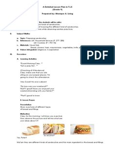 DETAILED LESSON PLAN IN COOKERY 9 | Menu | Sandwich Types Of Sandwiches, Cold Sandwiches, Clubhouse Sandwich, Kitchen Utensils And Equipment, Fudge Frosting, Cocktail Sticks, Dark Chocolate Cakes, Unsweetened Chocolate, Mise En Place