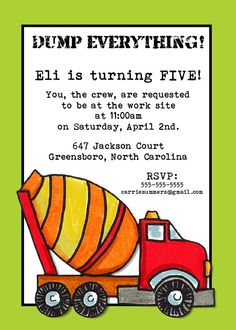 Dump Truck Birthday Party Invitation  5x7 by PhotoGreetings, $15.00