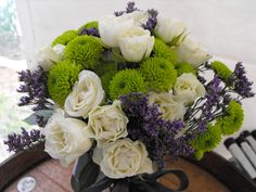 Green Button Mums, White Spray Roses, and Fresh Lavender Centerpiece