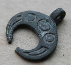 VIKING Period Bronze Lunar Pendant Scandinavian Norse Crescent Amulet 1000 AD +