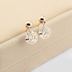 New Crystal Cutout Rose Alloy Gold Plated Women's Drop Earrings