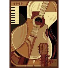 "United Weavers Legends Guitar Area Rug (3'3 x 4'11) (3'3"" x 4'11""), Beige, Size 3'3 x 5' (Polypropylene, Abstract)"