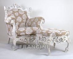 Fauteuil Feline & bankje, Witte rozen
