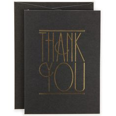 Paperchase thank you cards black and gold letterpress style deco