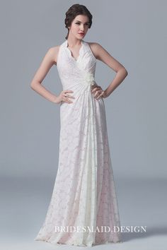 Illusion white lace over pink lining romantic bridesmaid dress. Sleeveless scalloped halter neckline, open back, flower embellished twist empire waist, floor length A-line long bridal party gown. Romantic Bridesmaid Dresses, Fitted Prom Dresses, Designer Bridesmaid Dresses, Lace Bridesmaid Dresses, Trendy Dresses, Wedding Dresses, Tea Length Wedding Dress, Tea Length Dresses, Vestidos