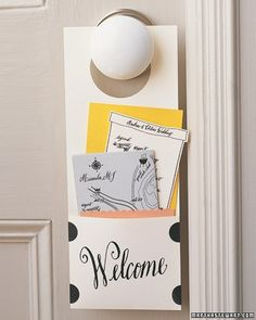 A welcome card with