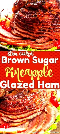 pineapple cooked glazed brown sugar slow ham Slow Cooked Pineapple Brown Sugar Glazed Ham You can find How to cook ham and more on our website Ham Brown Sugar Pineapple, Baked Ham With Pineapple, Ham Glaze Brown Sugar, Pineapple Ham Glaze, Crockpot Brown Sugar Ham, Slow Cooker Pineapple Ham, Honey Ham, Cooking A Stuffed Turkey, Thanksgiving Ham