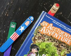 Popsicle stick superhero bookmarks - awesome for comic book day!