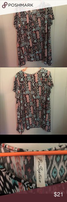 f2efe1f3f9081e Patterned silky tunic top. Black tunic top with cute pattern full of orange  and turquoise