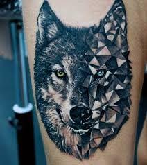 Resultado de imagen para geometric wolf tattoo design