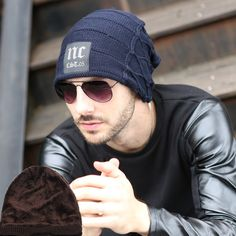 Fashion 2015 New Winter Men and Woman Hat Letter NC Beanies Knitted Hat Ear Protector Velvet Cap Wool Warm Skullies