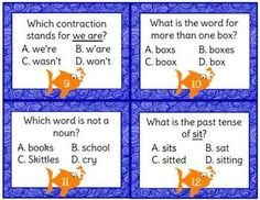 Second grade grammar/language arts task cards. Great for Scoot!