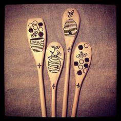 Woodburned spoons - bees | Flickr - Photo Sharing!