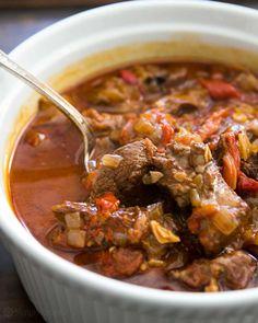Basque Lamb Stew ~ Marinated, slow-cooked, lamb stew with lamb shoulder, garlic… Crock Pot Recipes, Lamb Recipes, Slow Cooker Recipes, Cooking Recipes, Lamb Casserole Recipes, Jambalaya, Halogen Oven Recipes, Guisado, Marinated Lamb