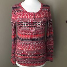 Lucky Brand thermal top! NWT Lucky Brand long sleeved thermal top! New with tags!!! Warm and cozy for fall and winter!! Red printed top with studded gold tone snaps on the front! Lucky Brand Tops