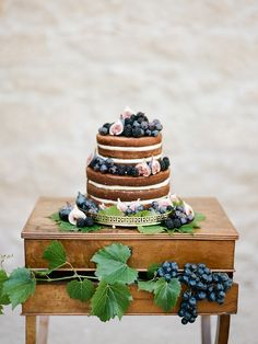 Multi-tiered naked cake with fresh fruit and figs.
