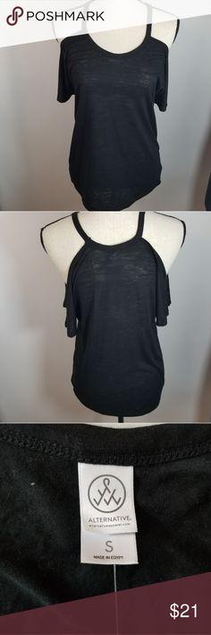 d23222b5e3be Alternative Shirt S Black Cold Shoulder Top Tee Alternative Shirt S Black  Cold Shoulder Top Tee