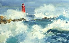 Original watercolour painting of Poolbeg lighthouse during the storm. Photo reference by Ernie Watchorn. Painting is double… Irish Art, Photo Reference, Online Gallery, Paintings For Sale, Watercolour Painting, Online Art, Lighthouse, Ireland, Art Pieces