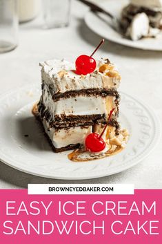This incredibly simple ice cream sandwich cake with only six ingredients and 15 minutes of active prep time is a perfect no-bake summer dessert. Use store-bought or homemade ice cream sandwiches and layer them in a baking dish with caramel sauce, hot fudge, whipped topping, peanuts, and maraschino cherries for a totally refreshing ice cream sandwich cake on a hot day. Ice Cream Treats, Ice Cream Desserts, Frozen Desserts, Summer Desserts, Ice Cream Recipes, Easy Desserts, Delicious Desserts, Baking Desserts, Frozen Treats