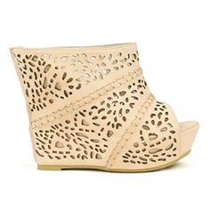 e73d986f5c90d MarkandMaddux Diego-05 Beige Laser-cut Wrapped-heel Wedge Sandals Wrap Heels