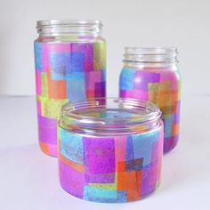 Faux Stained Glass Recycled Jars Reuse your jars by upcycling them into faux stained glass candle votives! Easy enough for a child but pretty enough for your home! Paper Crafts For Kids, Fun Crafts, Glass Candle Holders, Candle Jars, Recycled Jars, Tissue Paper Crafts, Creation Deco, Faux Stained Glass, Mothers Day Crafts