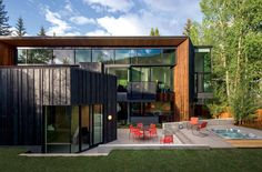 Blackbird House   Architect Magazine   Will Bruder Architects, Aspen, Colorado, United States, Single Family, New Construction, Living Room, Bedroom, Kitchen, Modern, Spec House, Shou-sugi-ban, cedar, stair, Form-based Codes, Wood, Daylighting, Codes and Standards, Will Bruder