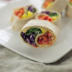 A veggie rainbow, all rolled up into a handheld tortilla makes the perfect lunch.