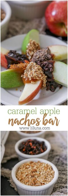Caramel Apple Nachos bar - apple slices with chocolate and caramel dip with a variety of toppings. AD