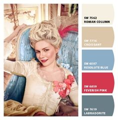 Marie Antoinette color palette by Clip It! from Sherwin Williams. - Anika Hülser - Marie Antoinette color palette by Clip It! from Sherwin Williams. Marie Antoinette color palette by Clip It! from Sherwin Williams. Movie Color Palette, Colour Pallete, Color Palettes, Clip It, Marie Antoinette Movie, Thirty Flirty And Thriving, Colorful Decor, French Antiques, Color Inspiration