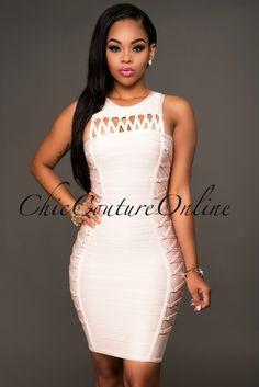 62b3f3099d7a1 Pierson Blush Lace-Up Design Luxe Bandage Dress