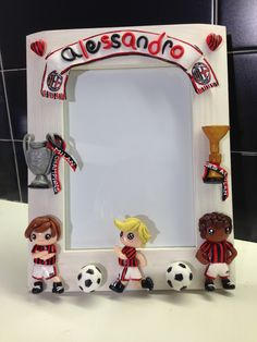Football Supporter frame - fimo decorated