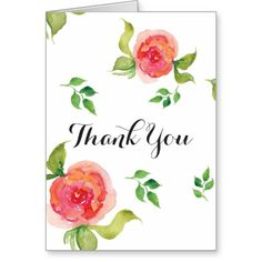 boho chic Coral floral bridal shower Thank You Greeting Card