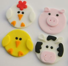 Size – You will receive 3 each (Chick, Rooster, Pig & Cow) Make your party stand out with these adorable edible farm animals! You can use them to decorate cakes or cupcakes. Fondant Cupcakes, Fondant Toppers, Cupcake Cookies, Farm Cupcake Toppers, Farm Animal Cupcakes, Animal Cakes, Cupcake Topping, Deco Cupcake, Decoration Patisserie