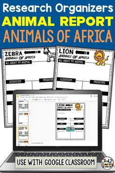 Use these African Animal organizers to help students gather, organize, and record information and key details about an African animal for their   project or animal report! These organizers are the perfect tool to help your students organize their research.  Each digital African animal research organizer helps students organize a variety of information about their animal including the animal's ecosystem, habitat, any predators, prey (if a carnivore), diet, fun facts and more.
