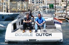 Max Verstappen of Netherlands and Scuderia Toro Rosso and his father Jos Verstappen are seen on a boat in the harbour during previews to the Monaco Formula One Grand Prix at Circuit de Monaco on May 22, 2015 in Monte-Carlo, Monaco.