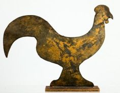 19th C. PAINTED SHEET METAL ROOSTER WEATHERVANE  Comprised of two-ply tin pieces tabbed together with the back angled and attached to base. A pleasing amount of gold paint remains on the front with the reverse painted black.