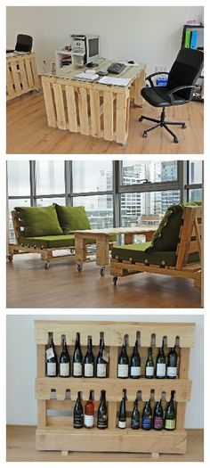 Office furniture made from repurposed pallets forvintner !    ++ More information at Punkt Workshop website ! Idea sent by Punkt Workshop ! #PalletDesk, #PalletSofa, #PalletTable, #PalletWineRack, #RecycledPallet