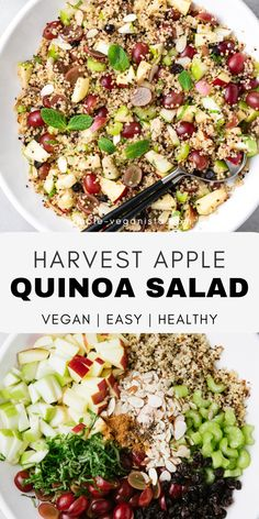 Harvest Apple Quinoa Salad - Apple Quinoa Salad… An easy fall recipe with heart healthy quinoa, crisp apples, juicy grapes, - Quinoa Recipes Easy, Quinoa Salad Recipes, Healthy Recipes, Fall Recipes, Whole Food Recipes, Healthy Salads, Cooking Recipes, Meals With Quinoa, Vegetarian Quinoa Recipes