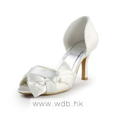 "Gorgeous 3.5"" Bow & Peep-toe D'Orsay - Ivory Satin Wedding Shoes (11 colors) $69.96"