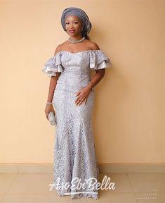Grey Goose ✨upload your Diyanu - Aso Ebi Styles African Wedding Attire, African Attire, African Fashion Dresses, African Wear, African Dress, African Clothes, Lace Gown Styles, Aso Ebi Lace Styles, Latest Aso Ebi Styles